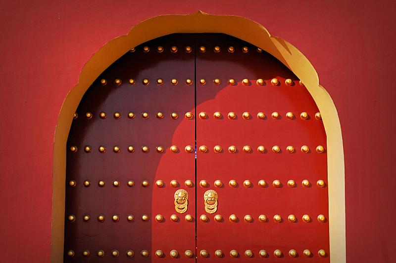 大门,红色,天坛,长城,故宫,纹理效果,古老的,古典式,早晨,东亚