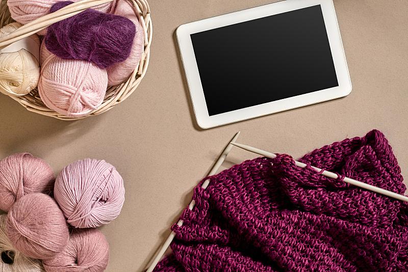 球体,羊毛,看风景,米色,平视角,针织,顶部,球,钩针编织品,水平画幅