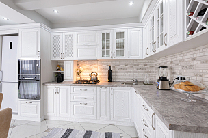 室内,白色,木制,极简构图,厨房,黑色,新的,华贵,高雅,时尚