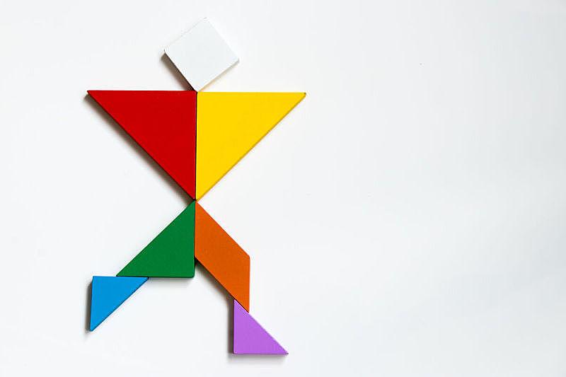 形状,人,谜题游戏,白色背景,留白,艺术,休闲活动,水平画幅,进行中,几何形状