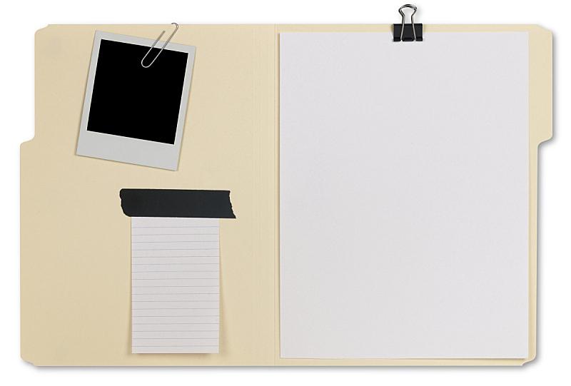 文件,开着的,马尼拉文件夹,回形针,装订夹,一次成像照相机,即时成像,空白的,拍摄场景,办公用品
