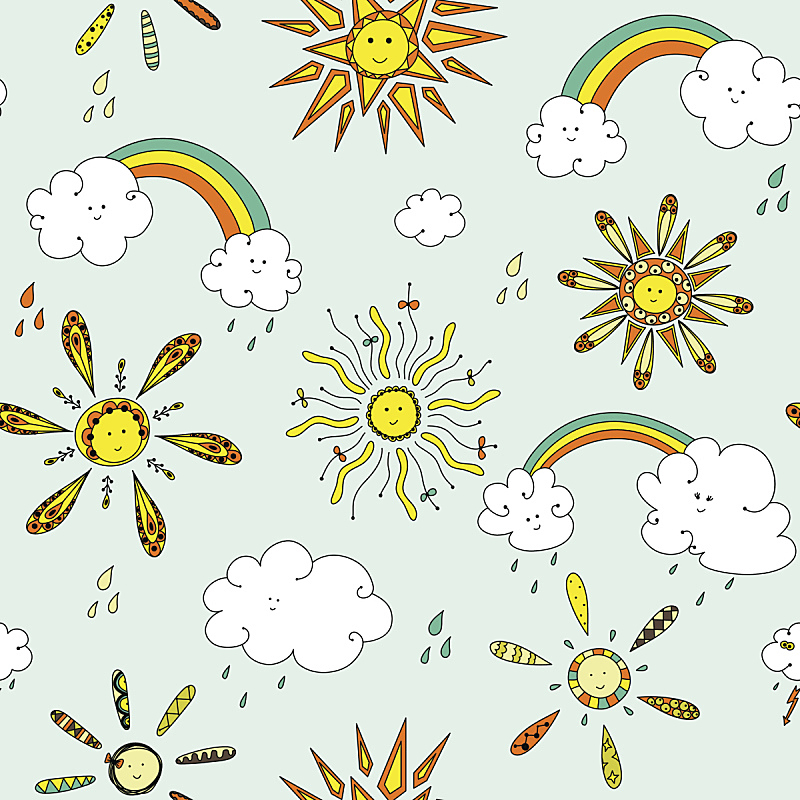 四方连续纹样,可爱的,太阳,云,天空,气候,形状,纺织品,绘画插图