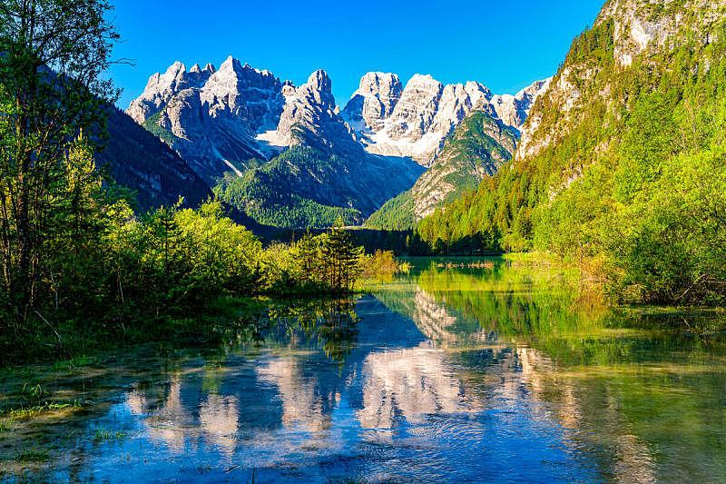 湖,多洛米蒂山脉,山,早晨,自然美,上阿迪杰,世界遗产,石灰石,著名景点,松树
