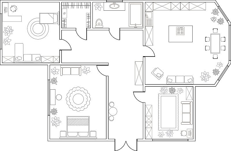 计划书,公寓,矢量,卧室,两个物体,抽象,万松宫,杂物间,蓝图,卫生间