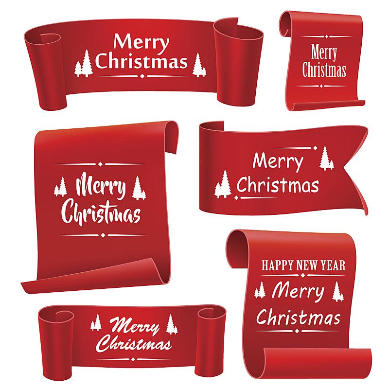 缎带,红色,绘画插图,矢量,数字5,旋转类游乐,圣诞包装纸,布置,写实