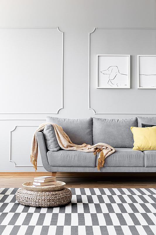 灰色,沙发,起居室,极简构图,地毯,室内,毯子,摄影,写实