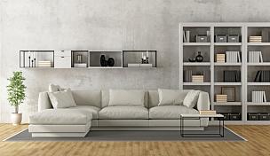 现代,白色,起居室,餐具柜,书架,水平画幅,墙,无人,硬木地板,家具