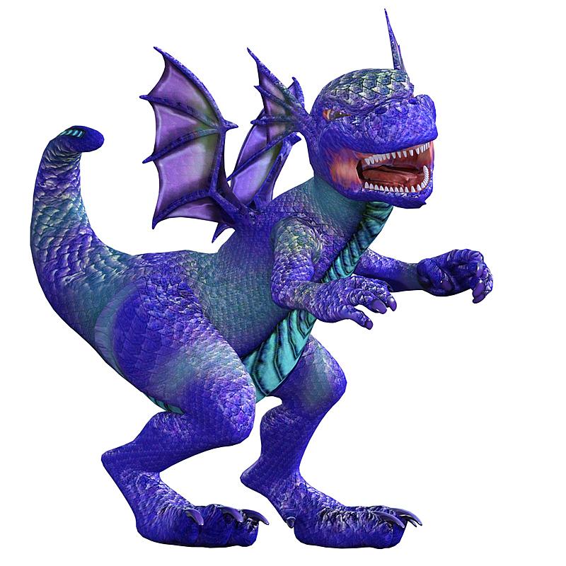龙,三维图形,紫色,白色,可爱的,分离着色,生气,白色背景,牙齿,翅膀