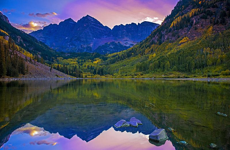 完美,山脉,风景,在上面,倒影湖,云,黄昏,雪,池塘,湖