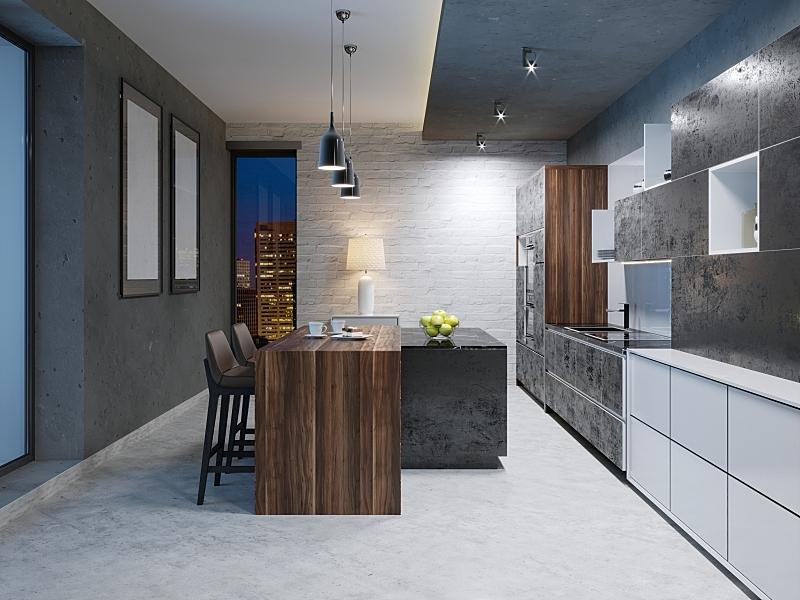 暗色,现代,设备用品,厨房,室内,家具,华贵,灵感,椅子,水槽