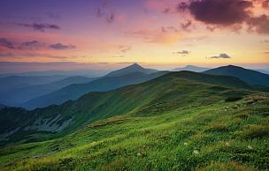 山,地形,自然,雾,风景,山顶,田地,天空,早晨,夏天