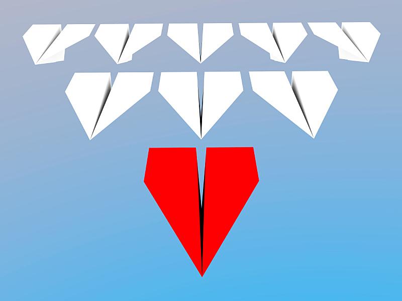 领导能力,概念,纸飞机,水平画幅,绘画插图,组物体,经理,方向,商业金融和工业,三维图形
