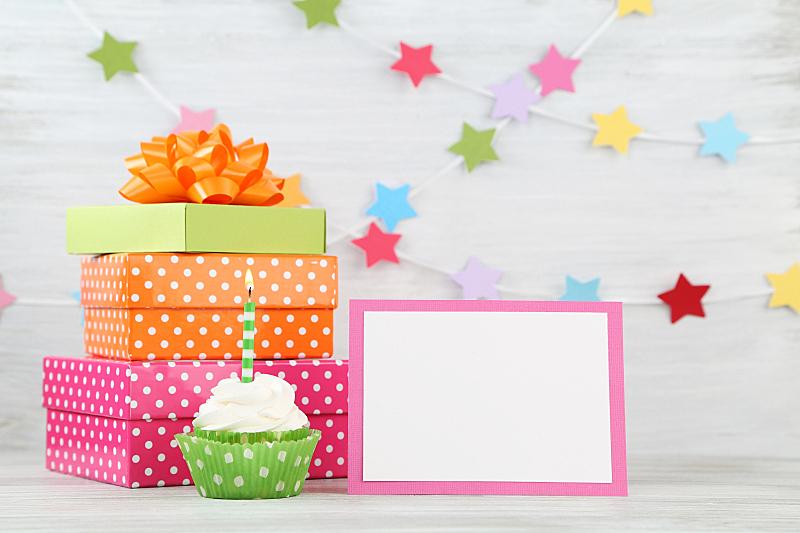 生日卡,横幅,贺卡,留白,边框,水平画幅,派对帽,生日蛋糕,无人,蛋糕