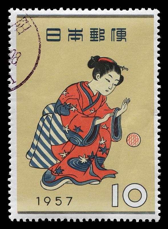 日本人,传统,1957,歌舞伎,昭和时期,奈良县,邮戳,球体,和服,休闲游戏
