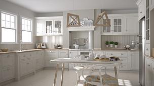 白色,斯堪的纳维亚人,木制,厨房,简单,极简构图,大特写,室内设计师,人字形图案,柜子