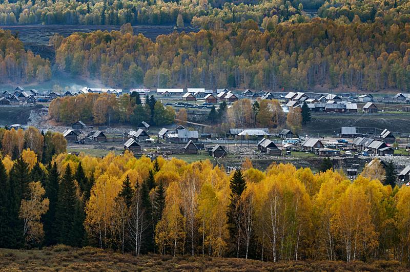 自然保护区,中国,禾木,布基尼,天然气田,冰河,水平画幅,秋天,无人,河流
