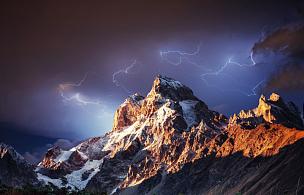非凡的,自然美,雪山,抽象拼贴画,在上面,镊子,闪光灯,山顶,山,雪