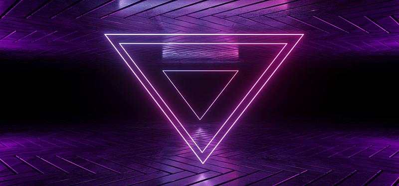 三维图形,未来,霓虹灯,蓝色,形状,壁纸,山,暗房,反射,发光