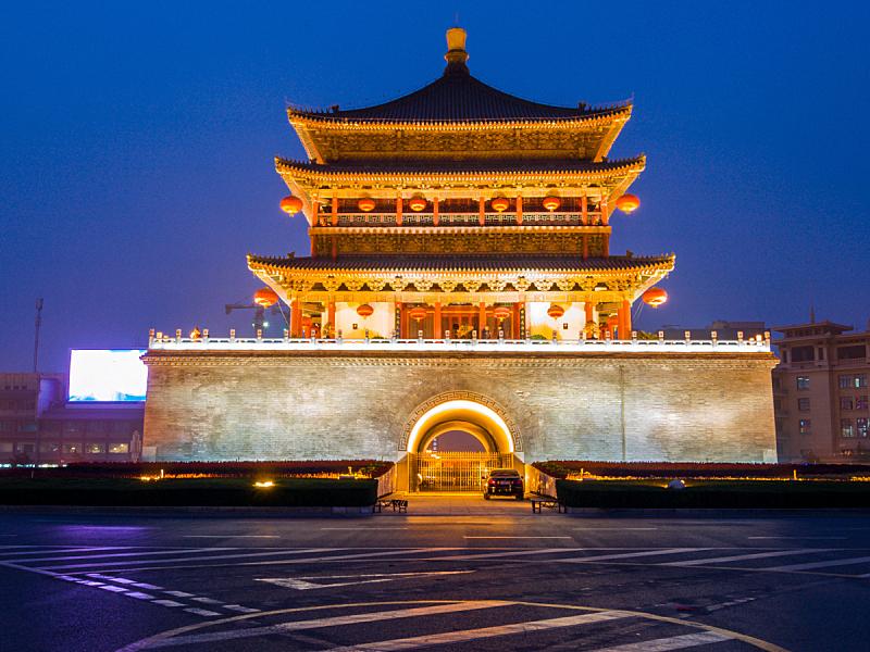 西安,夜晚,了望塔,旅游目的地,水平画幅,建筑,无人,曙暮光,大门,要塞