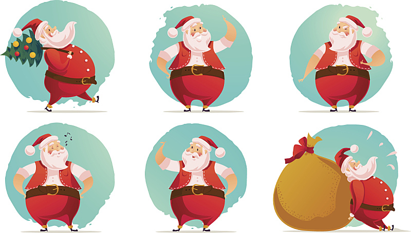 矢量,式样,新年前夕,圣诞老人,新的,水平画幅,雪,绘画插图
