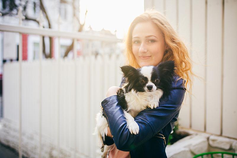 篱笆,狗,儿童,女人,小的,拿着,幽默,黑白图片,日落