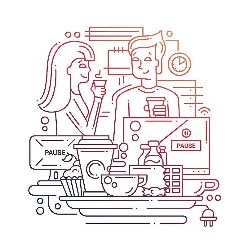 线条,工间休息,绘画插图,部分,杯,技术,模板,现代,商业金融和工业,想法