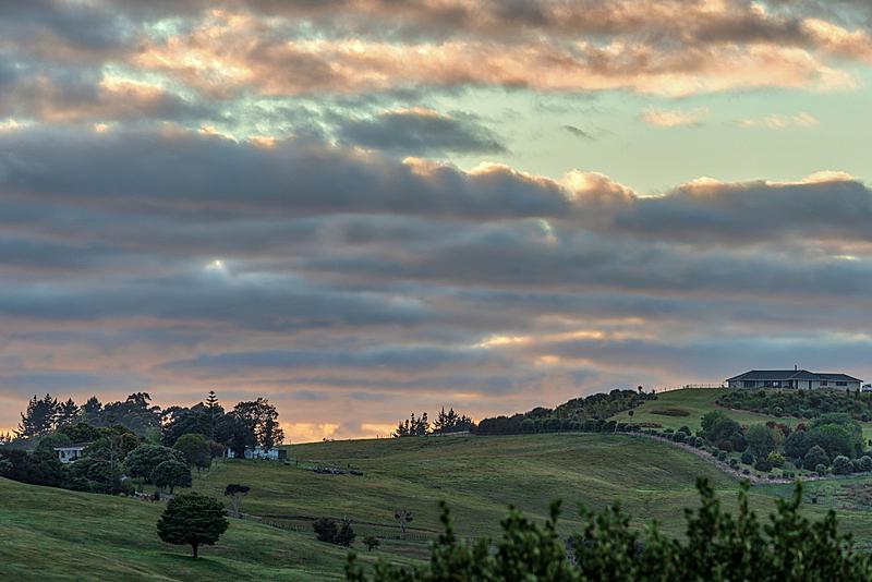 多色的,新西兰,黎明,在上面,城镇,云,草,夏天,户外,天空