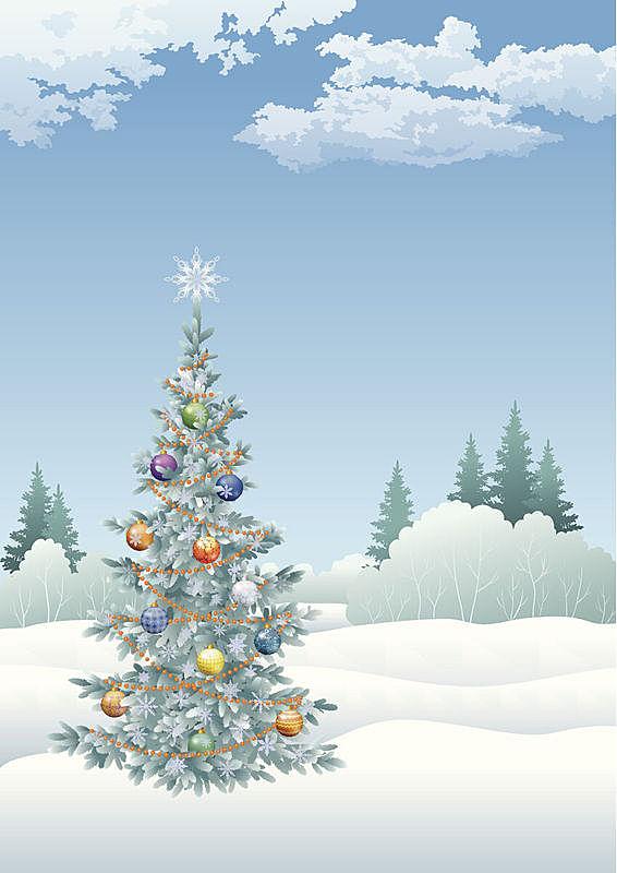 圣诞树,冬天,地形,垂直画幅,天空,雪,无人,绘画插图,庆祝