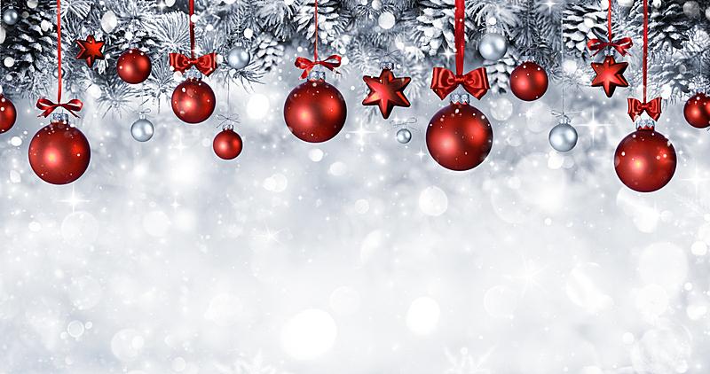 雪,球体,悬挂的,枝,杉树,球,圣诞卡,水平画幅,银色