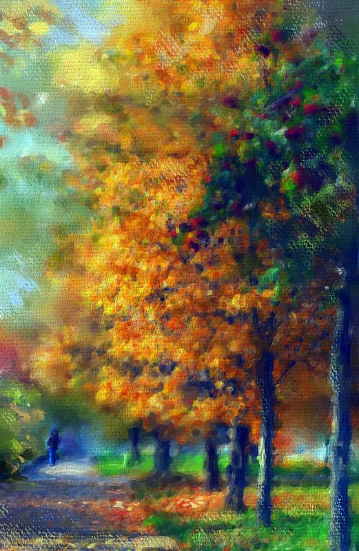 公园,秋天,日光,白昼,风景,画布,十月,水彩画颜料,步行