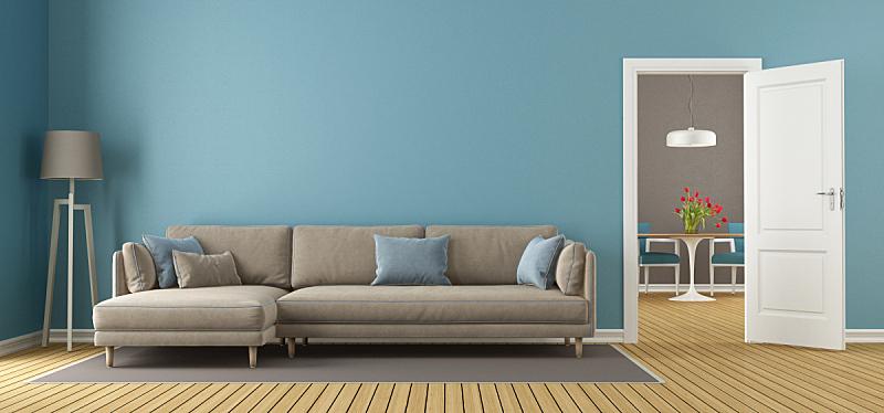 褐色,蓝色,起居室,极简构图,水平画幅,无人,椅子,硬木地板,绘画插图,家具