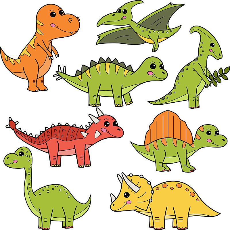 可爱的,卡通,恐龙,背景分离,野生动物,迷惑龙,已灭绝生物,动物,童年,力克斯兔