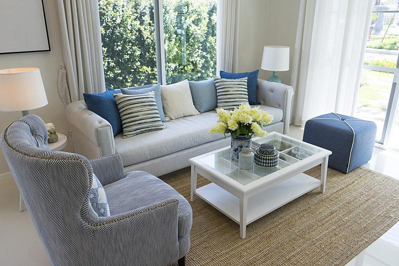 沙发,灰色,蓝色,枕头,拉凡他那石拱,边框,水平画幅,椅子,灯,家具