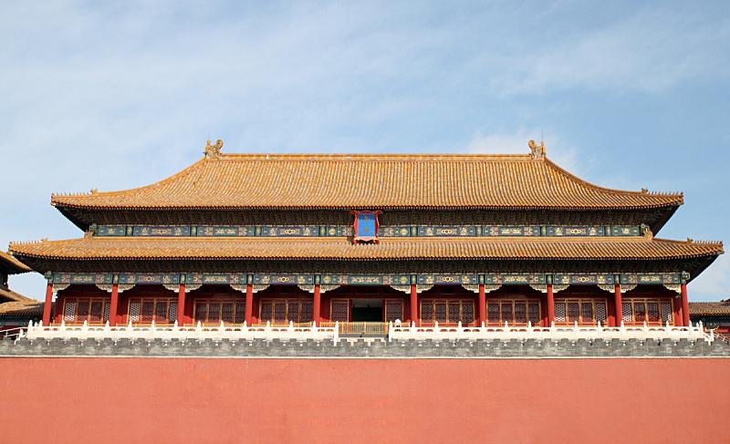 故宫,中国,宫殿,北京,远古的,天空,水平画幅,禁止的,旅行者,国际著名景点