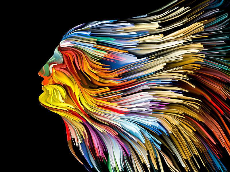 背景幕,赛琪,表现主义,前额,绘画插图,机敏,虚荣,水平画幅,思考