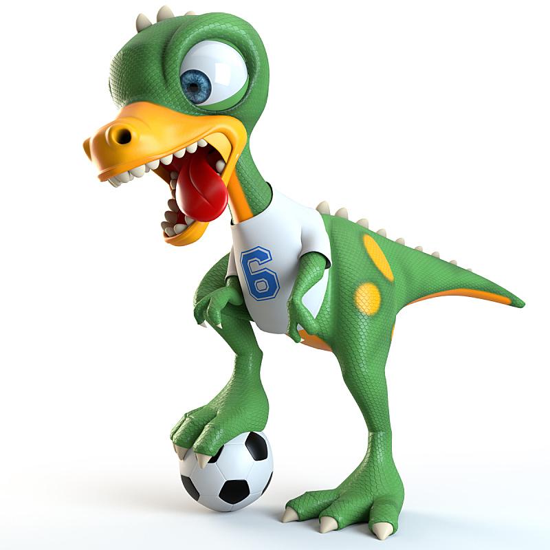 乐趣,恐龙,橄榄球,可爱的,白色,白色背景,运动,法国,图像,已灭绝生物