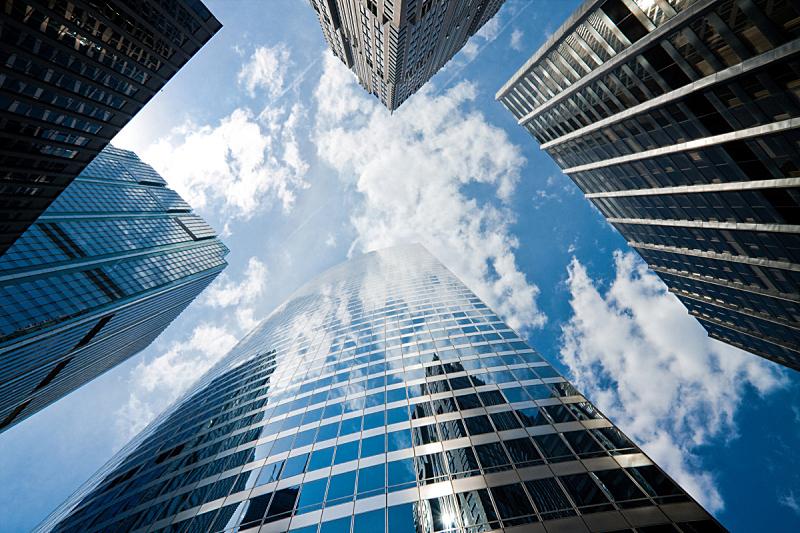 芝加哥市,正下方视角,低视角,水平画幅,无人,夏天,组物体,建筑外部,城市,建筑结构