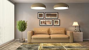 沙发,室内,三维图形,住宅房间,褐色,水平画幅,墙,无人,装饰物,家具