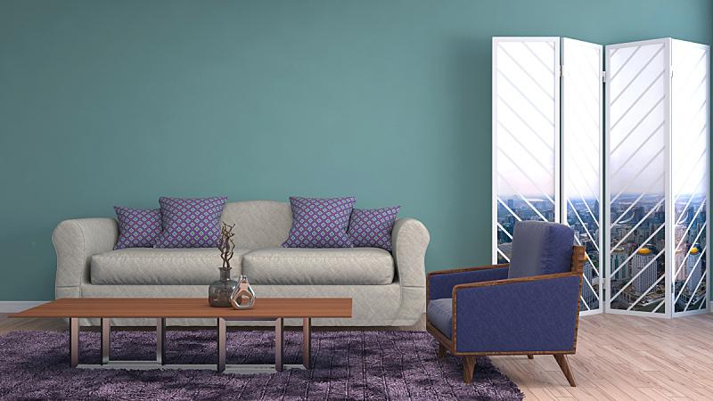 沙发,室内,绘画插图,三维图形,普罗旺斯,褐色,座位,水平画幅,无人,装饰物