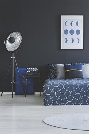 卧室,黑色,室内,垂直画幅,夜晚,月亮,家庭生活,灯,家具