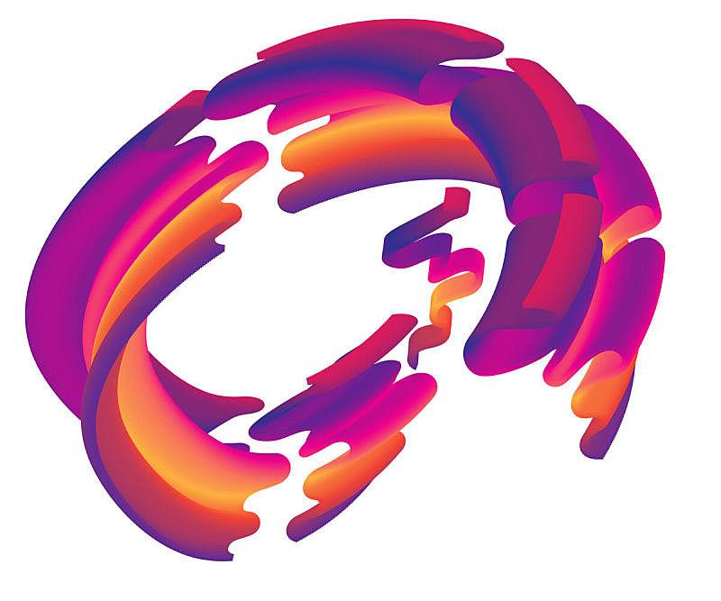 现代,抽象,活力,横截面,线条,技术,与众不同,三维图形,色彩渐变,流动