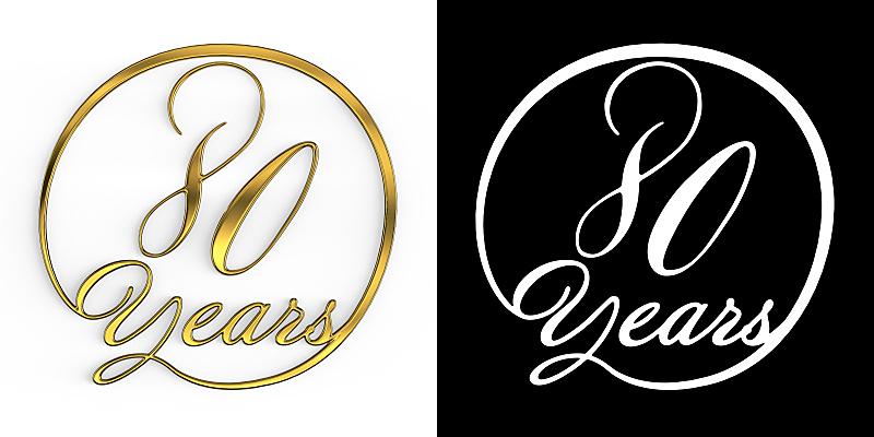 黄金,数字,数字80,周年纪念,请柬,事件,现代,德国语言,节日,标签