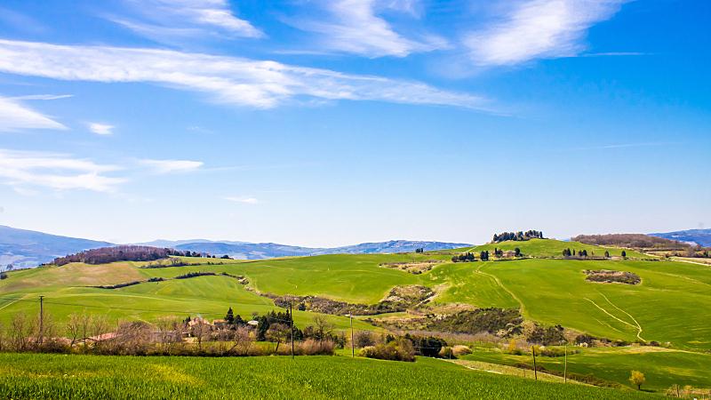 托斯卡纳区,意大利,天空,水平画幅,山,无人,草坪,夏天,户外,草