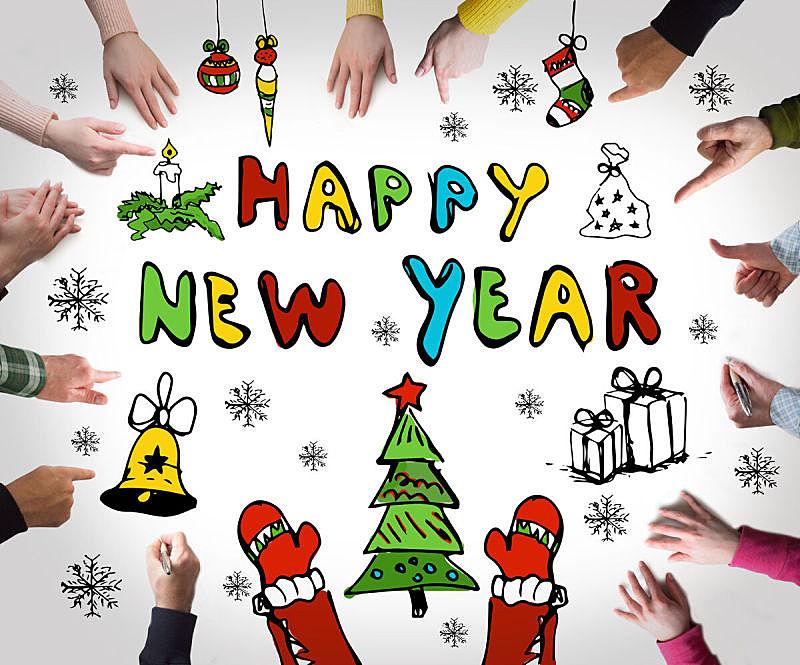 新年前夕,概念,半空中,想法,新年,动机,冬天,雪花,商务,女人
