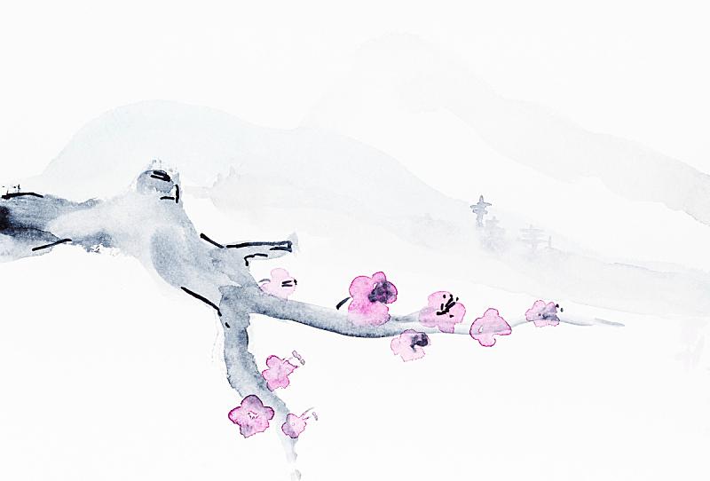 枝,山,水墨画,花朵,绘画作品,花头,绘画艺术品,樱桃,粉色,水彩画颜料
