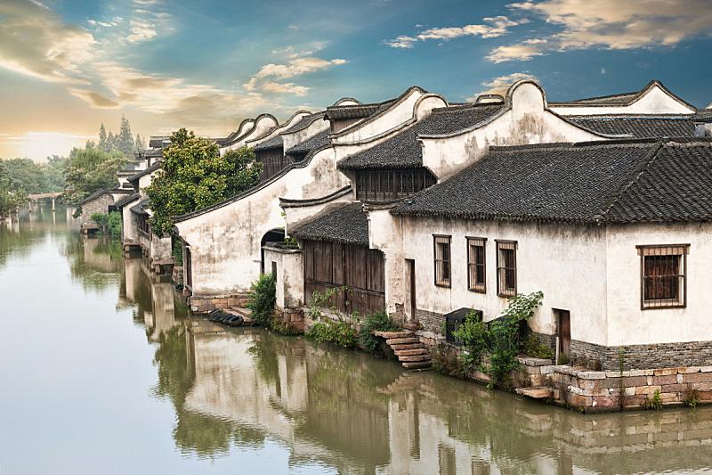 水乡,周庄,乌镇,苏州,江苏省,纪念碑,水,天空,水平画幅,无人