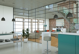 现代,厨房,蓝色,计划书,自然美,复式楼,住宅内部,无人,华贵,舒服