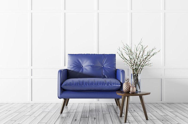 现代,三维图形,扶手椅,室内,茶几,留白,褐色,水平画幅,无人,椅子
