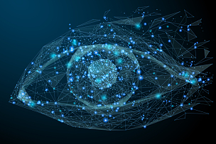 人的眼睛,低多边形效果 ,蓝色,未来,绘画插图,计算机制图,计算机图形学,安全,计算机电缆,粒子