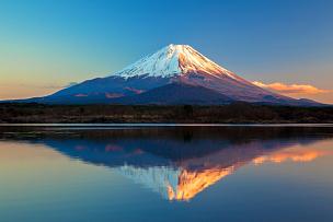 富士山,精进湖,世界遗产,自然,山顶,日本,水,天空,美,水平画幅